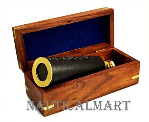 NAUTICALMART Solid Brass/leather Admiral Spyglass 14 Inches Golden by NAUTICALMART