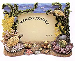 Turtle with Starfish in Ocean Setting Picture Frame with Mini Snow Globe
