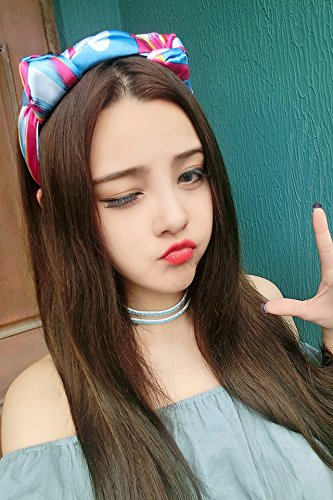 (HJPRT retro holiday party silk satin double knot little devil cat ears headband hair accessories (new entrants: powder blue)