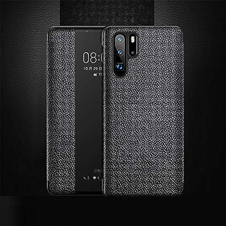 Weeksu Nueva Funda de Cuero con Tapa Horizontal de Grano Superior for Huawei P30 Pro, con función de contestador de Llamadas y Reposo/activación (marrón) (Color : Black)