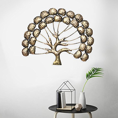 Collectible India Metal Golden Interior Design Tree of Knowledge & Life Wall Mounted Modern Art Sculpture Decor Hanging Home Living Room Office Showpiece Artwork(Size 19 x 15 Inches)