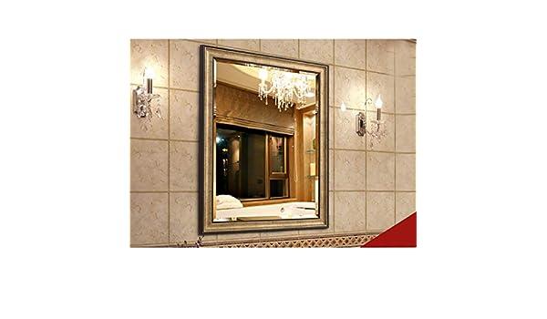 Espejos de baño Moda nórdica espejo de baño montado en la pared con espejo con marco PS, espejo de maquillaje 丨 Espejo de vanidad Espejo de afeitar, decoración de baño de moda (