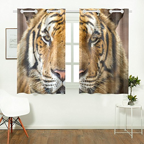 Tiger Pattern Print Window Treatment Panel Curtains, 2 PCS 26x39 Inch, for Living Room Bedroom Home Decor by LumosSports