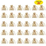 Burlap Bag with Drawstring Burlap Gift Bag Jewelry Pouches Sacks Bag for Wedding Favors Party, DIY Craft and Christmas 2.75'' x 3.5''(30 Pieces)