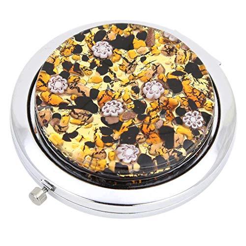 GlassOfVenice Murano Glass Millefiori Folding Compact Mirror - Topaz Gold