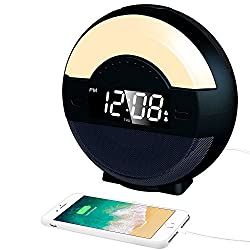 (2nd Gen) Dual Alarm Clock Radio with Bluetooth Speaker and USB Charger for Bedrooms, LED Bedside Clock with Multi-Color Night Light for Kids, Loud Alarm for Heavy Sleepers, Digital FM, Battery Backup