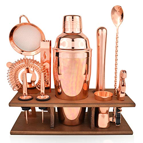 Bartender Kit Copper 11 Piece - Copper Parisian Cocktail Mixology Set - Rose Gold Shaker With Muddler, Pourers, Strainer & Twisted Bar Spoon by J&A Homes (Image #7)