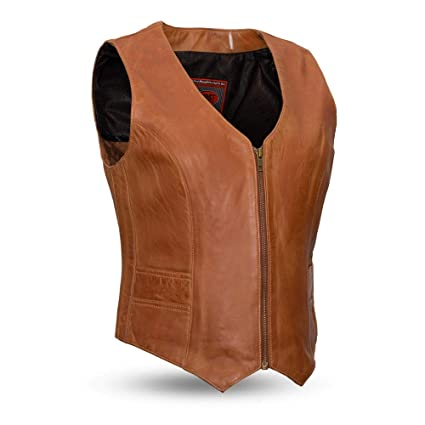 3acf60dd9 First Mfg Co Women's First Manufacturing Ladies Extra Soft Lambskin Leather  Vest (Whiskey, Large)