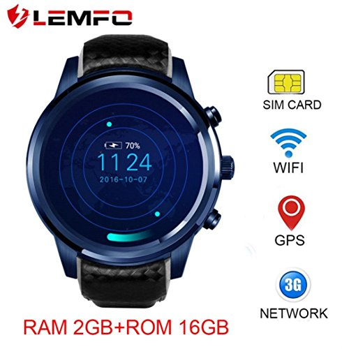 Boofab New LEMFO LEM5Pro Smart Watch 2018 Man Watch WIFI GPS Heart Rate For Android IOS