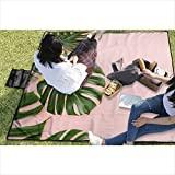 DPBEST Tropical Leaves Monstera Picnic Blanket with