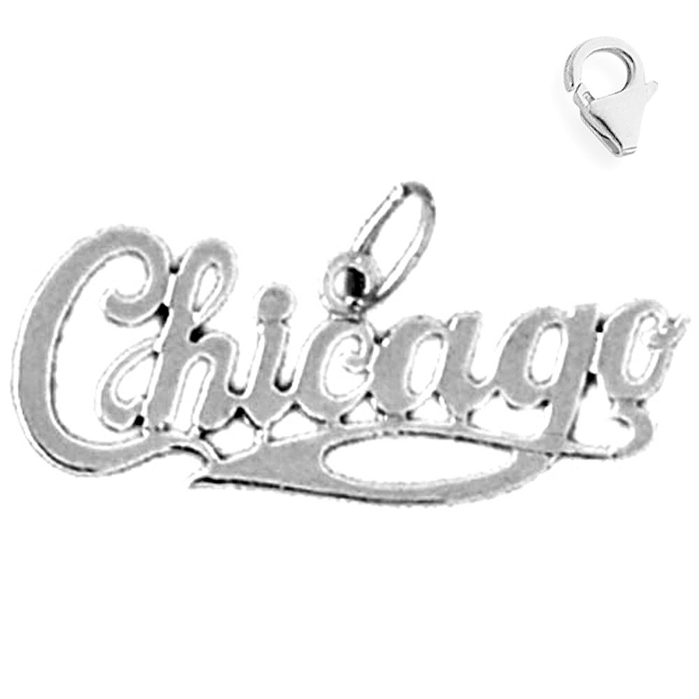 JewelsObsession Sterling Silver 12mm Chicago Charm w//Lobster Clasp