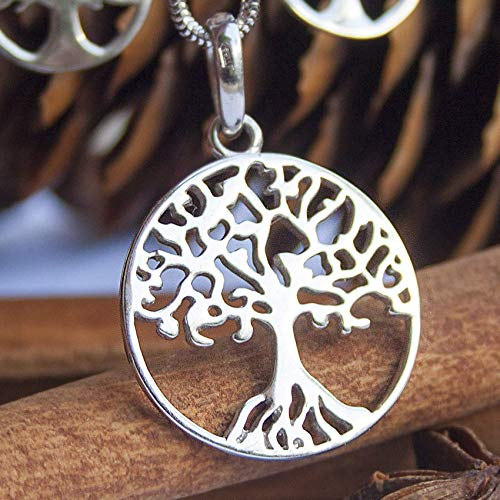 925 Sterling Silver Yggdrasil Celtic Tree of Life Pendant Necklace Viking Norse Jewelry for Women Ancient Druid Symbol Family Tree Handmade Charm Amulet Talisman - Circle Pendant Openwork