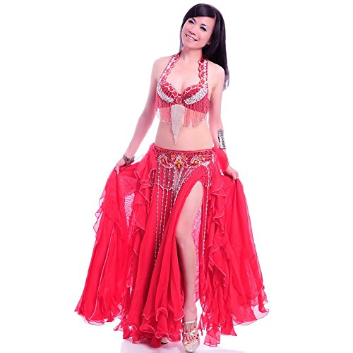 ROYAL SMEELA Belly Dance Costume Set for Women Belly Dance Bra and Belt Chiffon Dancing Skirts Professional Outfit 3pcs Red