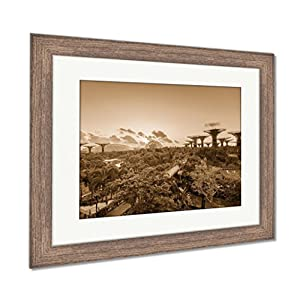 Ashley Framed Prints The Super Tree Grove At Gardens By The Bay In Singapore Spanning 101 Hectares, Wall Art Home Decoration, Sepia, 26x30 (frame size), Rustic Barn Wood Frame, AG6084868