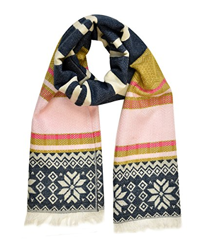 [Modadorn Native American Style Blanket Scarf (Stripe/Snow Flake Fringe end NAVY)] (Womens Halloween Ideas)