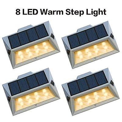 oopure?Newest Version 8 LED?Solar Stair Step Lights Outdoor Decorative Solar Deck Lights Wireless Waterproof Lighting for Garden Wall Paths Patio Decks