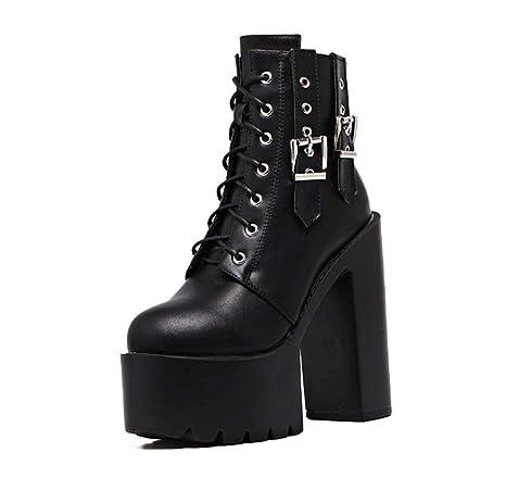 DANYCU Leather Fashion Donne Stivaletti Signore Gothic Black