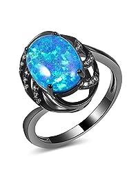 CYWAN Blue Fire Opal Ring 14KT Black Gold Filled Wedding Gemstone Ring Size 5 6 7 8 9 10 11