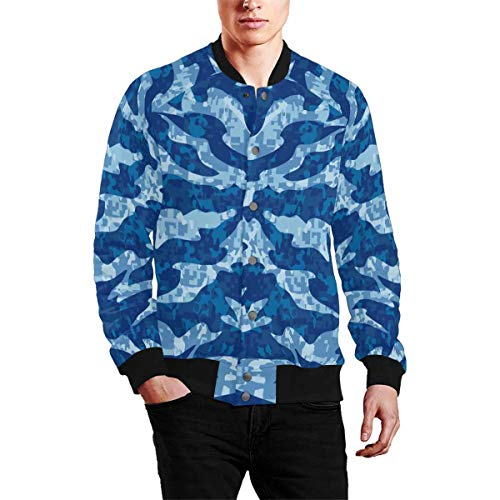 INTERESTPRINT Men's Navy Tiger Stripe Camouflage Zip Up Baseball Jacket Long Sleeves Short Blazer Outfit XL