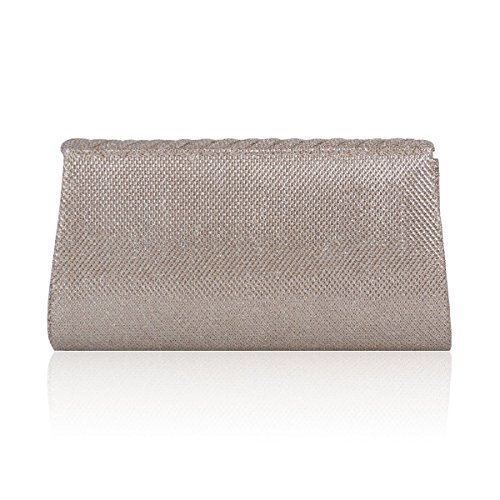 Simple Pleated Flap Evening Clutch Women Twill Damara White OqwIt5I