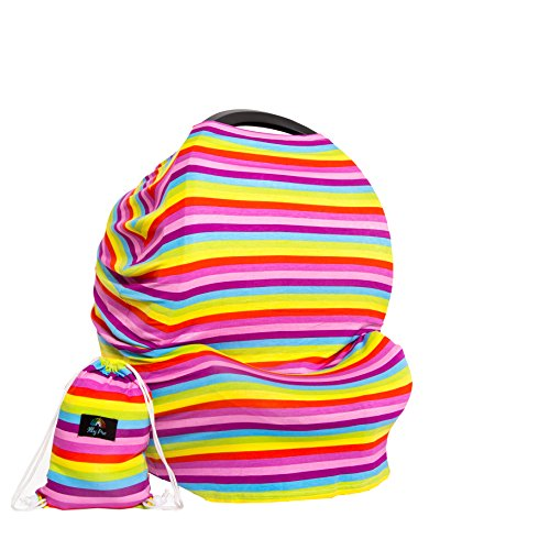 Nursing Cover Car Seat Canopy for Boys and Girls, Breathable Breastfeeding Cover with Pouch, Carseat Covers for Babies, Stroller Cover, Stretchy Shopping Cart & High Chair Cover,Best Baby Shower Gift