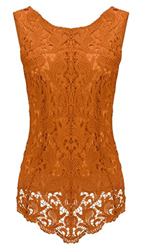 Sumtory Women's Lace Blouse Sleeveless Embroidery Tops Vest Shirt Blouse – Small, Orange1