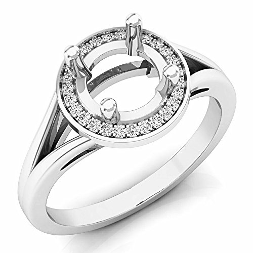 Dazzlingrock Collection 0.10 Carat (ctw) 14K White Gold Round Diamond Bridal Semi Mount Engagement Ring 1/10 CT (Size 7) -