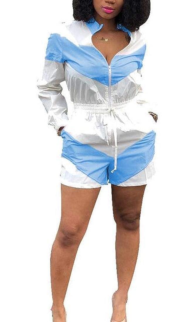 ARTFFEL Womens Summer Long Sleeve Color Block Zip-Up Pockets Short Jumpsuits