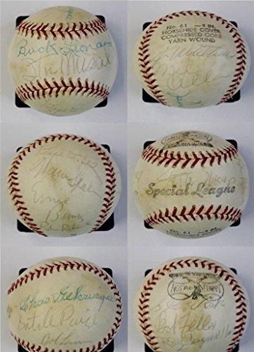 14-HOF-SignaturesWillie-Mays-Stan-Musial-Warren-Spahn-Charlie-Gehringer-Satchel-Paige-Ernie-Banks-Eddie-Mathews-Signed-Baseball-PSADNA-LOA