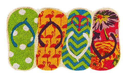 (Evergreen Shaped Flip Flops Coir Mat, 16 x 28 inches)