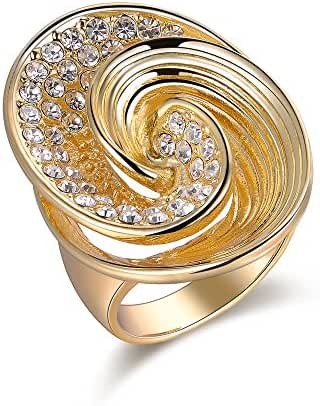 Mytys Gold Plated Twist Flower Fashion Cocktail Statement Rings