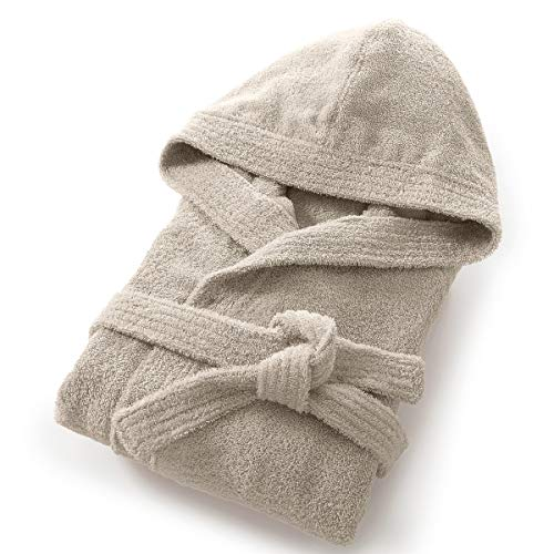 La Redoute Interieurs Quality Hooded Cotton Terry Towelling Bathrobe Beige Size US 20/22 - Fr 50/52
