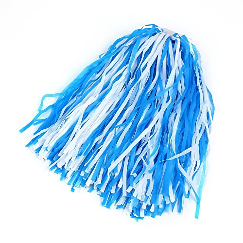 [Pparty Cheerleading Ring Pom Poms, 1pair, Blue+White] (Cheerleader Outfit For Girls)