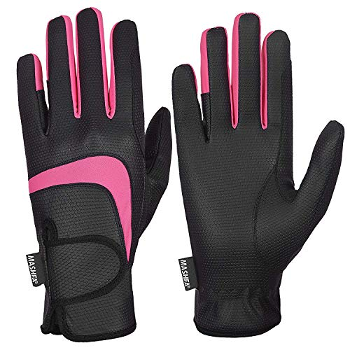 MASHFA Ladies Horse Riding Gloves Women Equestrian Outdoor Breathable Stretchable Riding Gloves 1 Year Warranty!! (Black, XL)
