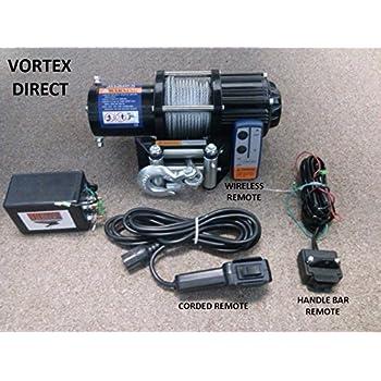vortex 4000lb atv winch! 3 remotes! (razr,4 wheeler, quad,
