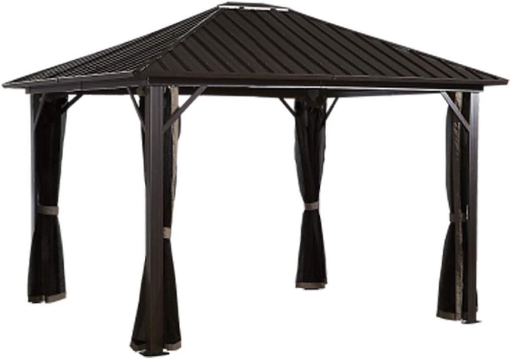 Sojag 12 x 12 Genova Hardtop Gazebo 4-Season Outdoor Shelter with Mosquito Net, Black,Brown