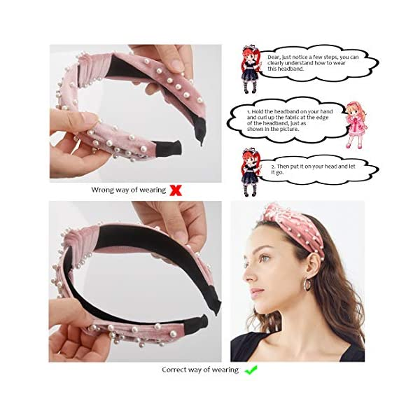 Allucho 4 Pack Velvet Wide Headbands Knot Turban Hairband Vintage Head wrap with Faux Pearl Elastic Hair Hoops Fashion Hair Accessories for Women and Girls, Great Christmas gift(4 Colors)