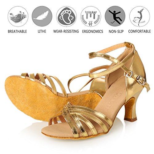 Satin Danse 36 latines la APTRO Femme Salle Chaussures de de en Or Uxqnptw81