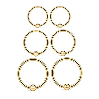ec74b1dfe 22G Sterling Silver Small Hoop Earrings Set 14K Gold Plated Ball Bead Hoop  Cartilage Earrings Helix