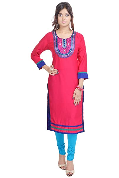 e4ba3d9a209 Vihaan Impex Indian Kurtis for Women Kurti Kurtas for Women Bust Size 44 Inches  Pink Kurti