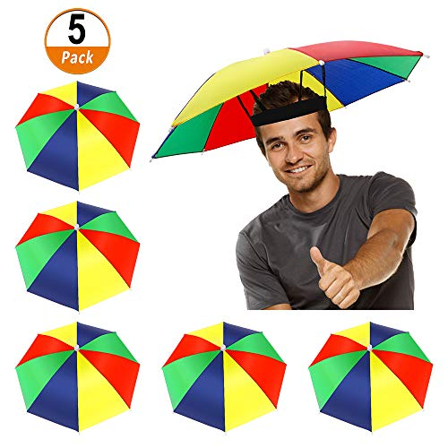 Umbrella Hat In Stores (Heqishun 5 Pack Umbrella Hat with Elastic Band, Rainbow Waterproof Fishing Umbrella Hat for Adults Kids Women)
