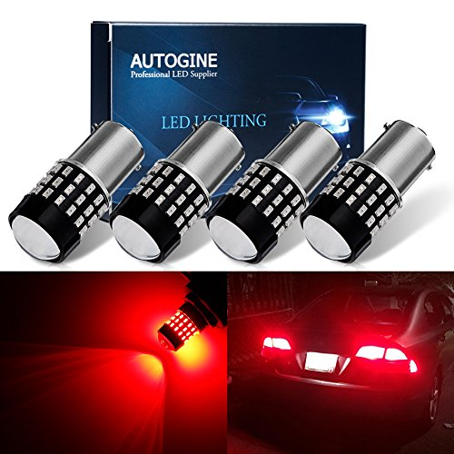 AUTOGINE 4 X Super Bright 9-30V 1156 1003 1141 7506 BA15S LED Bulbs 3014 54-EX Chipsets with Projector for Tail Lights Brake Lights, Brilliant Red