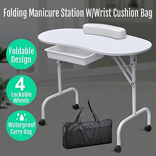 "Gotobuy 37""L Portable Manicure Table with Soft Wrist Cushion and Free Carrying Case"
