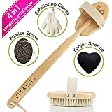 ZEN ME Dry Brushing Body Brush - Best Exfoliating Brush Set - with Pumice Stone, Scrub Gloves, Konjac Sponge, Back Scrubber with Natural Bristles - Improves Circulation & Skin Health