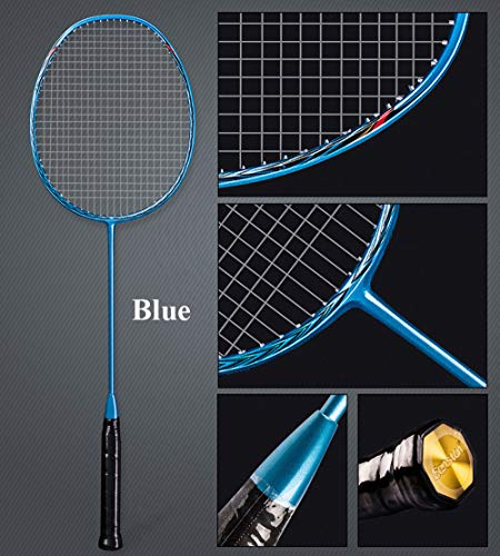 Senston N80 Graphite High-Grade Badminton Racquet,Professional Carbon Fiber Badminton Racket Included Black Blue Color Rackets 2 Carrying Bag by Senston (Image #3)