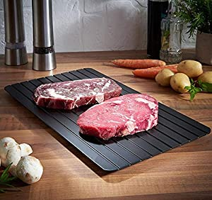 Fast Defrosting Tray For Thawing Frozen Foods - Eco-friendly Rapid Defroster Meat Tray Thaw Master With Silicone Borders - Defrost Meat Thaw Metal Plate (23 x 16.5CM)