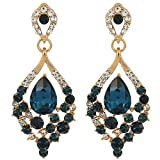 EleQueen Women's Gold-tone Austrian Crystal Teardrop Dangle Chandelier Sparking Earrings