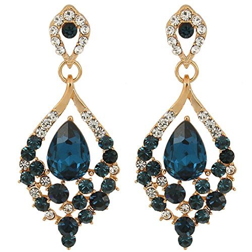 Blue Austrian Crystal Rhinestone (EleQueen Women's Gold-tone Austrian Crystal Teardrop Dangle Chandelier Sparking Earrings Sapphire)