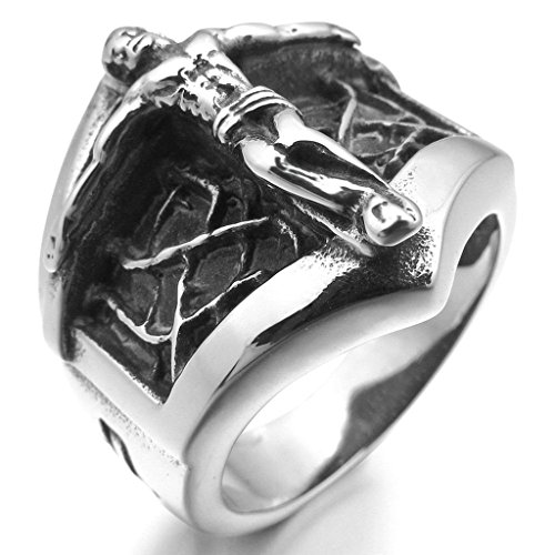 Aooaz Stainless Steel Ring For Men Cross Crucifix Jesus Black Silver Tone Retro Gothic Vintage Band US 10 (Halloween Band Aid Cookies)