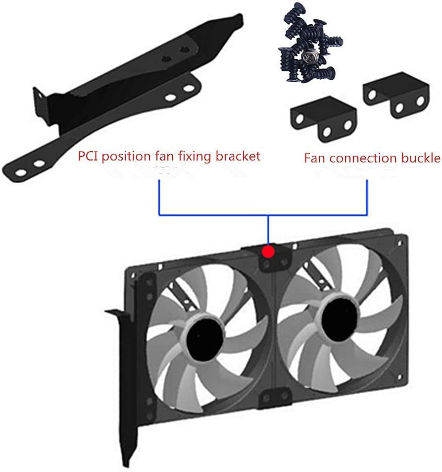 Siyu Xinyi Fan Mount,Dual Fan Mount Rack PCI Slot Bracket for Video Card DIY Support 9cm/12cm Fan Computer Radiator Holder,for VGA Video Card Cooling,Stand Bracket Kit (Black Metal)